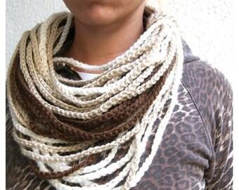 SALE! Loop scarf/ Necklace. Earthy colors.