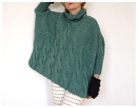 Massive Braid Drape Knit. Persian green color.