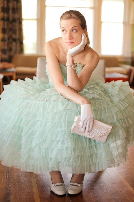 1950s Layered Mint Green Chiffon Cupcake Party Dress with Built-In Crinoline and Acetate Slips