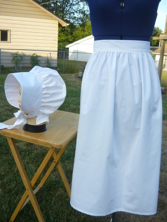 Ladies  Apron  and  Bonnet / Colonial / Civil war / Historical / Pioneer / Reenactment / Renaissance.
