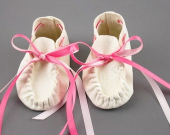 Christening Shoes, Baby Wedding Shoes, Baby Moccasins, Toddler Shoes, Baby Shower Gift, Baby's 1st Birthday, Newborn Booties, made in USA