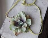 READY TO SHIP - Sage Green Flower Yarn Tieback Headband - Newborn Photography Prop
