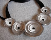 Silver satin flower ribbon necklace