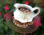 Shabby Chic Bird Feeder made from Vintage Creamer and Pink Glass Plate OOAK - Garden Art