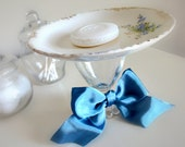 MARKED DOWN - Vintage Plate Pedestal ooak - Shabby Chic Dainty Blue Flowers - Soap Dish