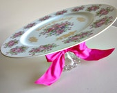 Vintage Plate Pedestal OOAK - Happy Birthday with Beautiful Roses - Cake Stand/Cupcake Stand/Dessert Pedestal