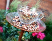 Shabby Chic Bird Feeder made from Vintage Cup and Saucer OOAK - Garden Art