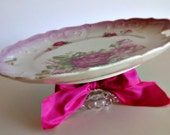 MARKED DOWN - Vintage Plate Pedestal - Beautiful Pink Roses - Cake Stand - Cupcake - Dessert - Wedding