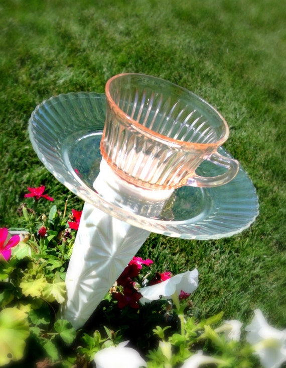 Pretty OOAK Cup and Saucer Bird Feeder -  Bird Bath - Candle Holder - Pink and White - Flower Pot Size