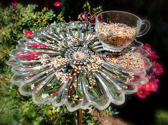 Bird Feeder made from Vintage Snack Tray and Cup - Daisy - Sunflower - Garden Art