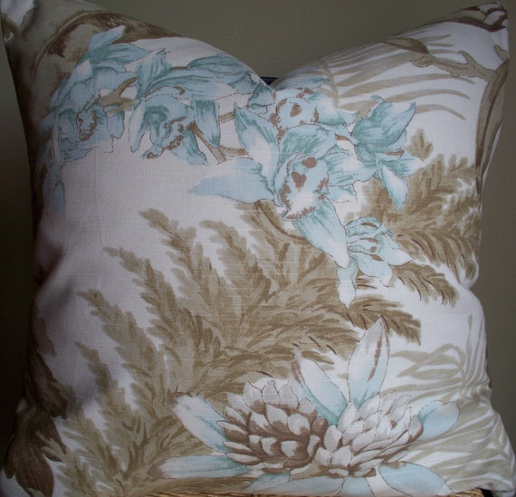 Shabby Chic Blue Pillows : Items similar to Decorative Pillow Taupe/Blue Shabby Chic Linen Lined Large Floral 16 18 20 22 ...
