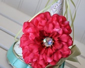 Girls Little Birdy Pink Flower Birthday Party Hat