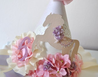 Girl's Vintage Pony Birthday Hat, Special Occasion, Dress up