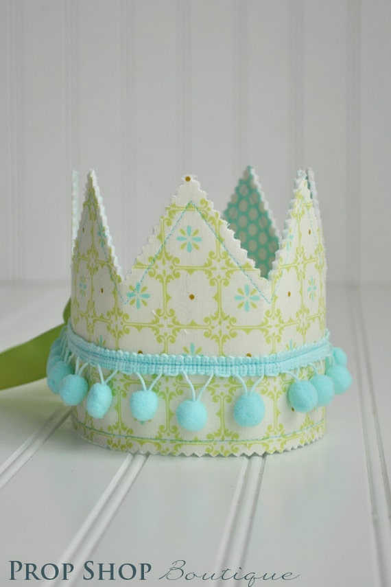 Blue and Green Shabby Chic Dress up Crown, Gender neutral, photo prop
