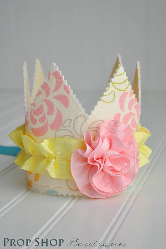 Girls Ruffled Rosette Fabric Crown, Dress up, Birthday Hat, Photo Prop
