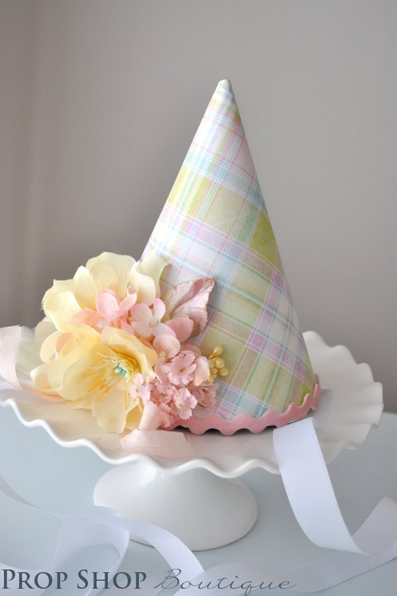Easter Springtime Flower Garden Birthday Party Hat, Special Occasion, Photo Prop, 1st Birthday
