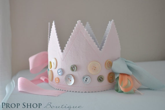 Girl's Vintage Cute as a Button Birthday Crown, Special Occasion, Dress up