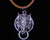 Silver Wolf Charm - Final Fantasy 7 Necklace on a Tan Cord