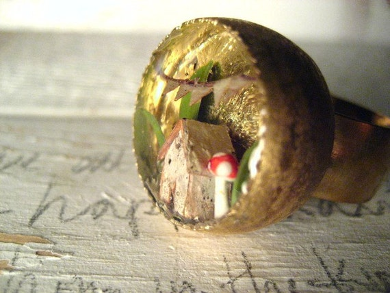 Tiny Birch Bark House no.5 with red mushroom