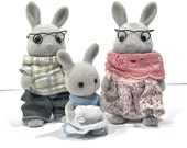 vintage 1985 Sylvanian Families grey bunnies, grandma, grandpa, baby, wire glasses, maker tag