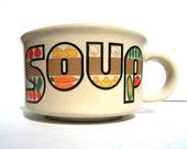 vtg jumbo soup mug, retro, patchwork look, veggies, vintage ceramic kitchenware, free u.s. shipping