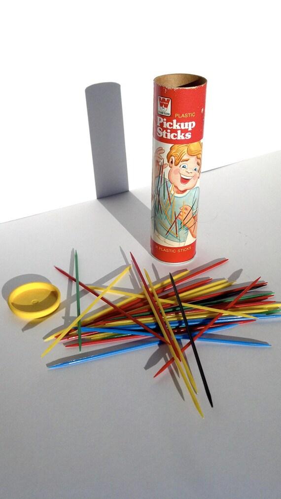 vtg pickup sticks, 1975, Whitman game, cardboard tube