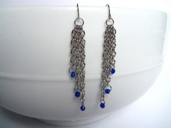 sale. chain and bead dangle earrings, fish hook back, blue beads, free u.s. shipping