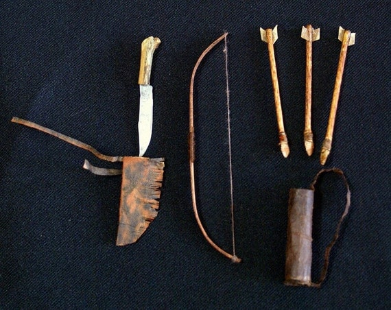 MINIATURE Hand-Made Bow, Arrows, Quiver, Knife in Sheath- Must See