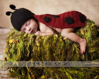 Crochet Newborn Costume - The Lady Bug Cape outfit for baby - Great Photo Prop or Perfect Baby Shower Gift