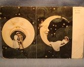 Vintage Romantic Postcard - Spooning in the Moon