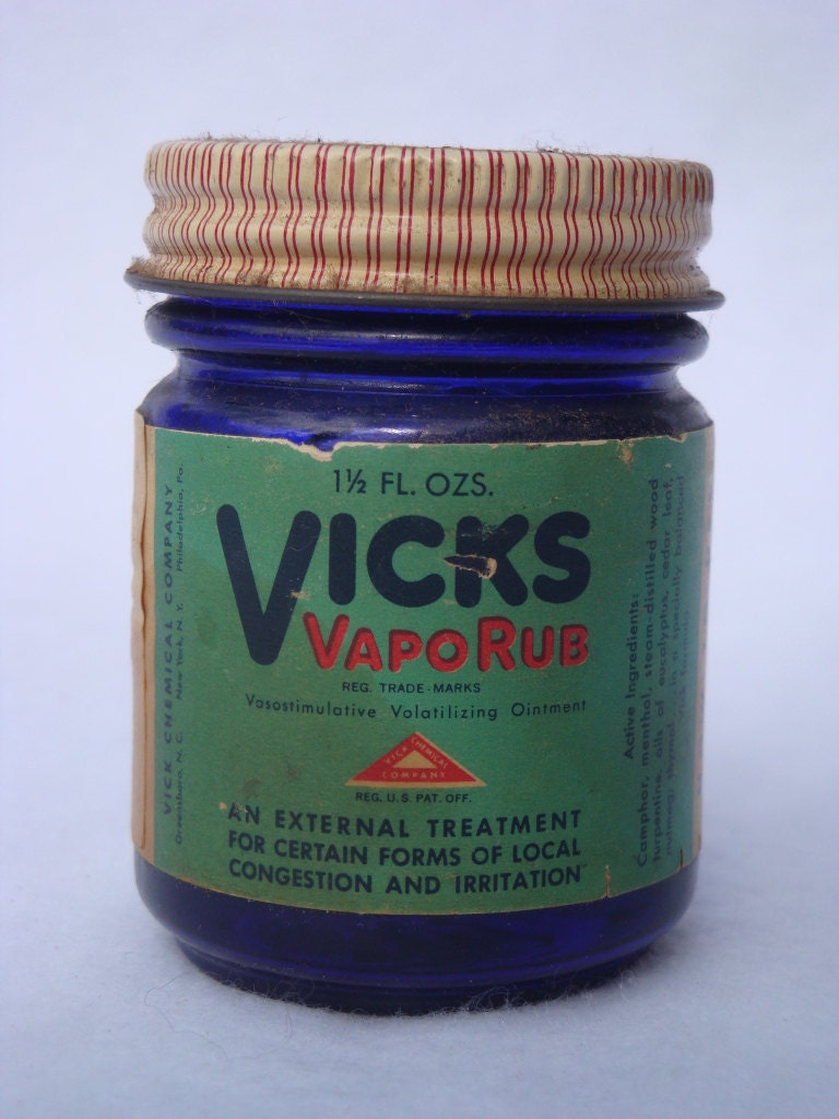 Vintage Vicks Vaporub Cobalt Jar W Label Amp Lid