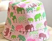 Girls' Bucket Hats-Reversible Pink Elephants with hand sewn applique, Spring Summer Fall hat (5 Kids Sizes)