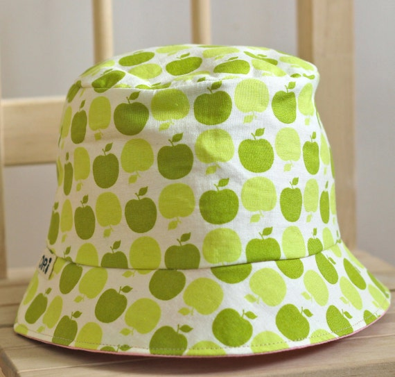 Custom Listing for slewin- Apple Bucket Hats-for Girls or Boys, Reversible Green Apple with hand sewn applique, Made to Order
