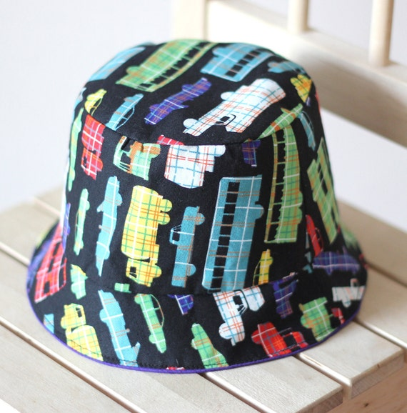 Boy summer bucket hat-Cars, Trucks, Buses, Purple Reversible with hand sewn applique, 12 months to 24months, Read to ship