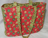 Pink and green cotton tote bag