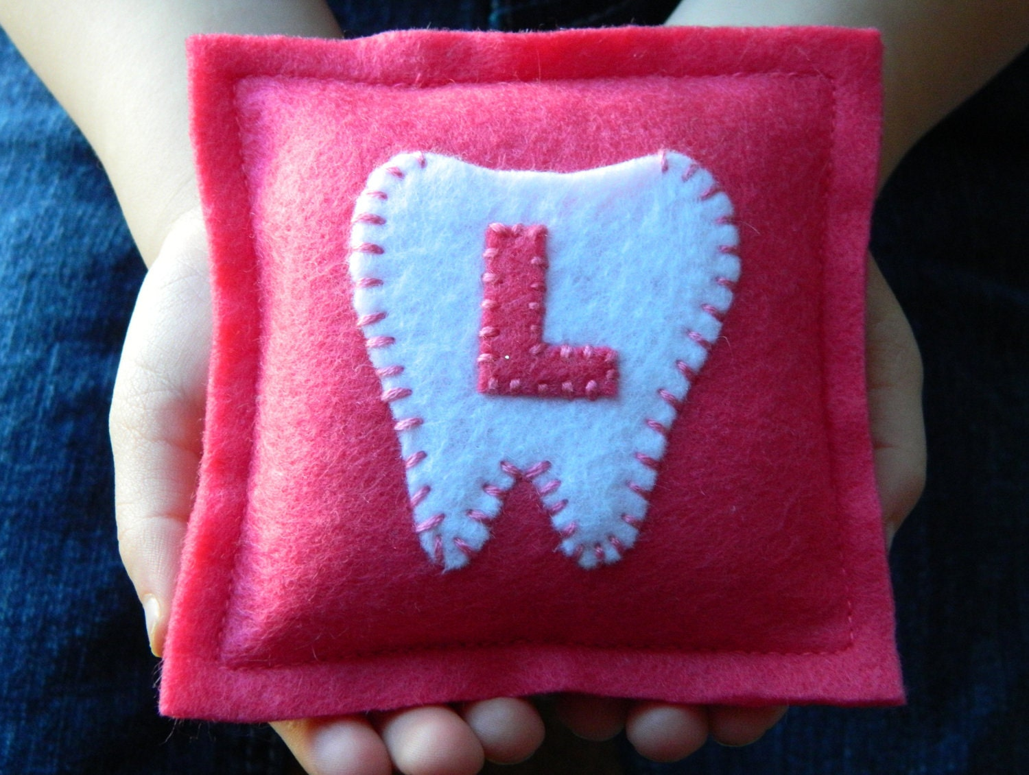 Cute Tooth Pillow : Monogrammed Felt Tooth Fairy Pillow