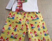 Gnome Baby Pants with Matching Mushroom Home Onesie, Made to Order Sizes 0-3 Months-2T