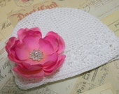Baby Girl White Cotton Hat with a Pink Flower and Rhinestones..100% Cotton..Take Me Home Cotton Hat..Newborn White Hat with Flower