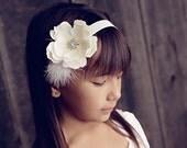 Baby Headband..Baby Flower Headbands..Baby Girl Headband..White Flower Headband with Feathers and Rhinestones..Great for Baptism/Christening