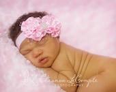 Baby Flower Headband..Baby Girl Headband..Newborn Headband..Light Pink Satin Flower Headband..Birdcage..Light Pink Satin Bow..Vintage