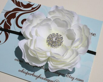 Baby Headband..Baby White Flower headband..Baby Girl White Flower headband and rhinestones..Newborn Baby Headband.