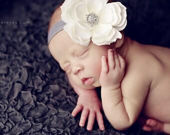 Baby Headbands..Infant Headband..Baby Girl Flower Headbands..White Flower on a Silver Gray Headband with rhinestones..Toddler Headband