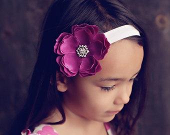 Baby Girl Purple Flower Headband - Baby Headband - Baby Purple Flower on White Headband - Baby Girl flower Headband with Rhinestones