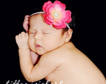 Baby Girl Hot Pink Flower Headband..Infant Girl Hot Pink Flower Headband..Toddler Headband.. Newborn Headband..Hot pink Flower Headband