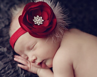 Baby Headbands..Baby Girl..Baby Headband..Baby Flower Headband..Christmas Headband..Burgundy Headband..White Feathers..Photo Prop