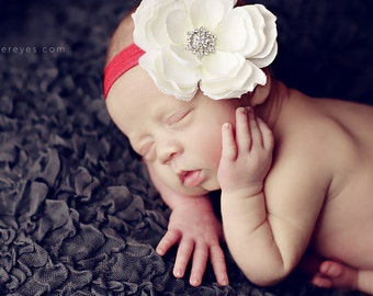 Baby Headbands..Infant Headband..Baby Girl Headband..White Flower on a Red Headband with rhinestones..Red and White Christmas Headband