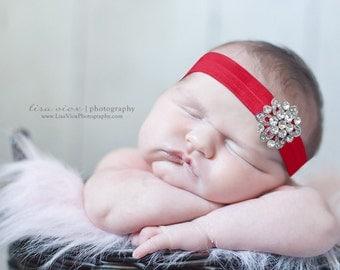 BEJEWELED Headband..Red Headband..Newborn Baby Girl Photo Prop..Baby Girl Rhinestone Headband for Valentines Day..Infant Headband