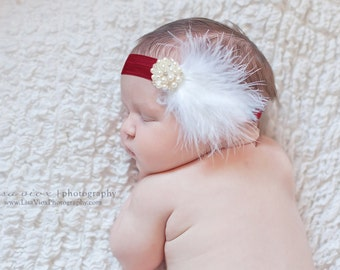 Baby Headband..Valentines Day..Baby Girl Valentines Day Headband..Burgundy Headband...White Feathers...Rhinestone Baby Headband..Photo Prop