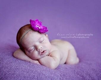 Baby Headband..Purple and Gray Headband..Infant Headband..Newborn Headband..Purple Flower Gray Headband..Purple Flower..Newborn Photo Prop