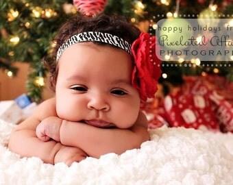 Baby Headband..Baby Girl Headband..Baby Girl Flower Headband..Red Flower on Zebra Print Headband with Rhinestones..Red and Zebra headband